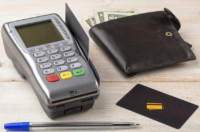 Payment wireless terminal and wallet with dollar banknotes